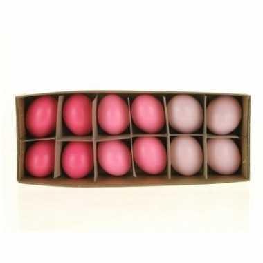 Paasversiering kippen eieren roze 12 stuks