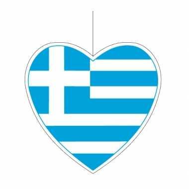 Papieren versiering hart griekenland 14 cm