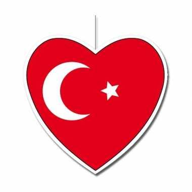 Papieren versiering hart turkije 30 cm