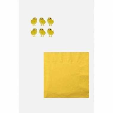 Pasen tafelversiering pakket wit/geel