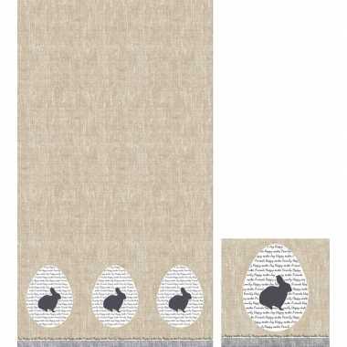 Pasen tafelversiering set konijn tafelkleed/servetten