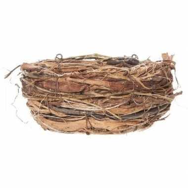 Pasen versiering vogelnestje/paaseieren mandje 13 cm
