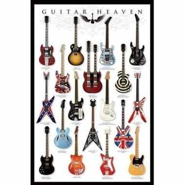 Poster gitaren muziek thema 61 x 91 cm wandversiering