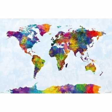 Poster wereldkaart gekleurd 61 x 91 cm wandversiering