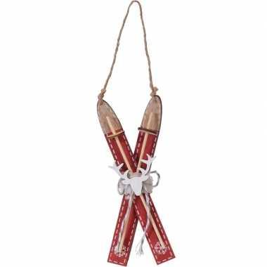 Rode houten ski kerstversiering hangversiering 17 cm