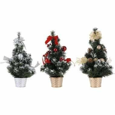Rode kerstboom met versiering 40 cm