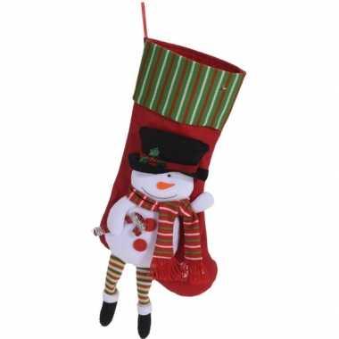 Rode kerstsok met sneeuwpop kerstversiering hangversiering 47cm