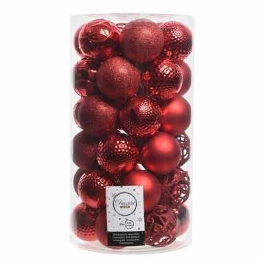 Rode kerstversiering kerstballenset kunststof 6 cm 36 stuks
