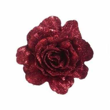 Rode roos met glitters op clip 10 cm kerstversiering
