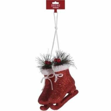 Rode schaatsen kerstversiering hangversiering 12 cm