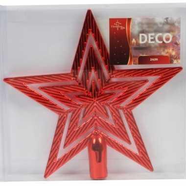 Rode ster piek kerstboomversiering 21 cm