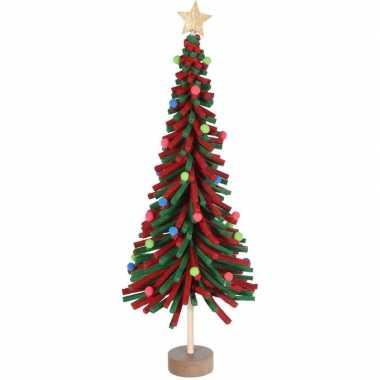 Rood/groen vilten kerstboompje versiering 45 cm
