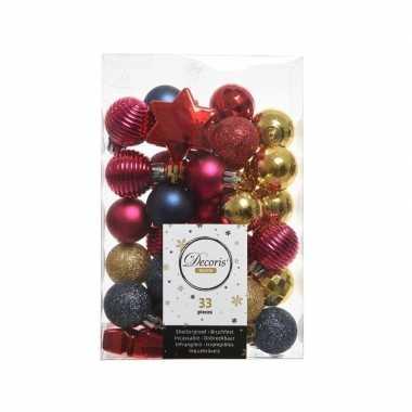 Rood/roze/blauwe kerstversiering kerstballenset 33 stuks