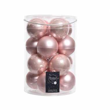 Roze kerstversiering kerstballen glas 8 cm