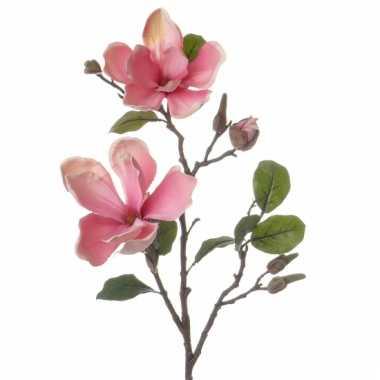 Roze magnolia versiering tak 72 cm