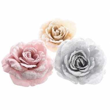 Roze roos kerstversiering clip versiering 12 cm
