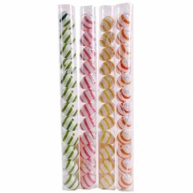 Roze/wit gestreepte hangversiering paaseieren 12 stuks