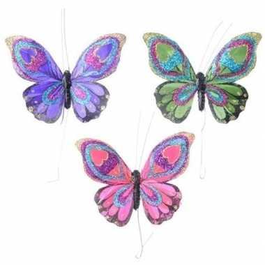 Set gekleurde vlinder hangversiering 9 cm