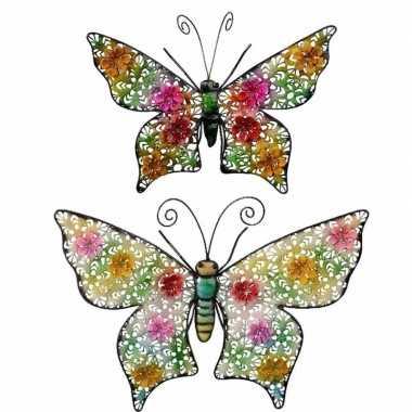 Set van 2 metalen vlinders gekleurd 22 en 43 cm tuin versiering