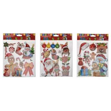 Set van 3x vellen kerst raamstickers/raamversiering 3d formaat 29 x 36 cm