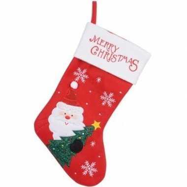 Set van 4x stuks rood/witte kerstsok kerstversiering met kerstman borduursel 40 cm