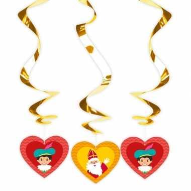 Sinterklaas spiraal hangversiering 3x