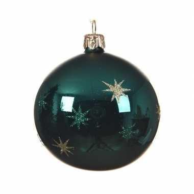 Smaragd groene kerstversiering kerstballen met ster van glas