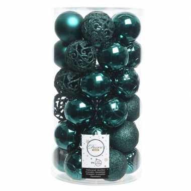 Smaragd groene kerstversiering kerstballenset kunststof 6 cm 36