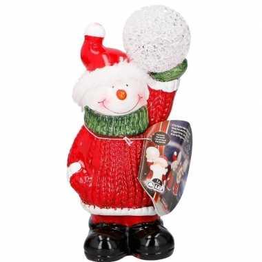Sneeuwpop met led kerst versiering 17 cm