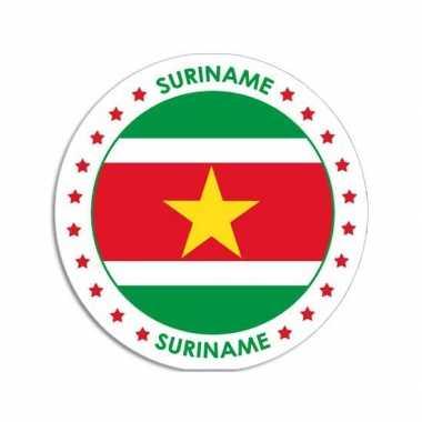 Suriname sticker rond 14,8 cm landen versiering
