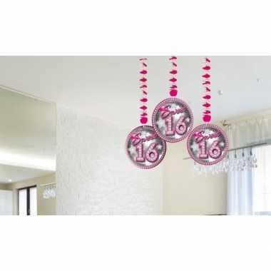 Sweet 16 leeftijd feest versiering rotorspiralen