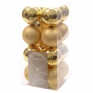 Sweet christmas kerstboom versiering kerstballetjes goud 16 x