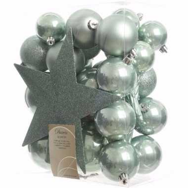 Sweet christmas kerstboom versiering set mint 33 delig
