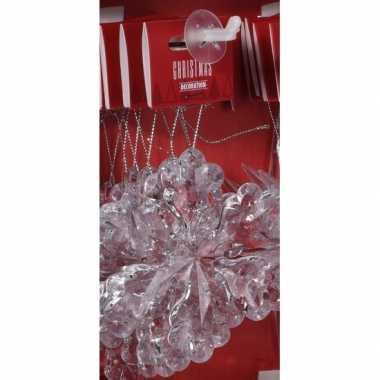 Transparante ijsbloem kerstversiering hangversiering 11 cm