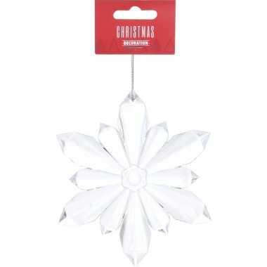 Transparante sneeuwvlok kerstversiering hangversiering 11 cm