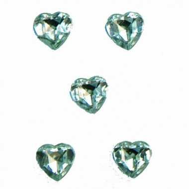 Transparante versiering hartjes diamanten 20 stuks van 1 cm