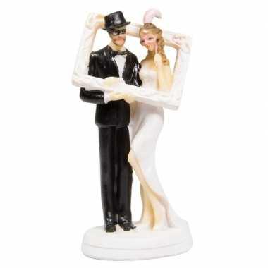 Trouwfiguurtjes bruidspaar met fotolijst taart versiering 14cm