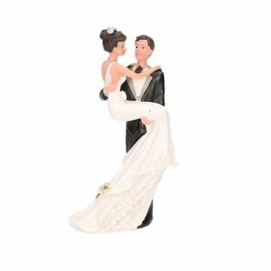bruidspaar op de taart Trouwfiguurtjes bruidspaar romantisch taart versiering 14cm  bruidspaar op de taart