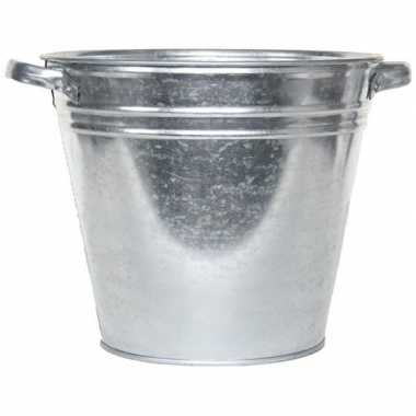 Tuinversiering zilveren waskuip 28l