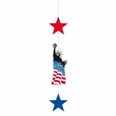 Usa versiering met 2 sterren en vrijheidsbeeld 105 cm