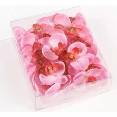 Valentijn 18x roze strooi vlinderorchideeblaadjes versiering