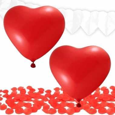 Valentijn versiering pakket rood/wit