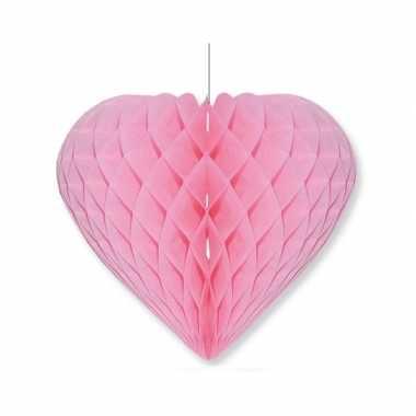 Valentijnsdag versiering hart lichtroze 28 x 32 cm