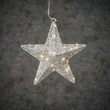 Verlichte zilveren ster/kerstster versiering 30 warm witte leds op batterij