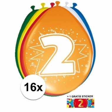 Versiering 2 jaar ballonnen 30 cm 16x + sticker