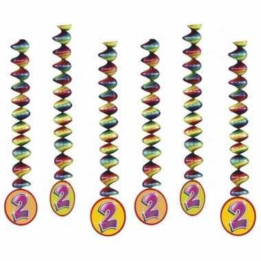Versiering 2 jaar feest spiralen 6x