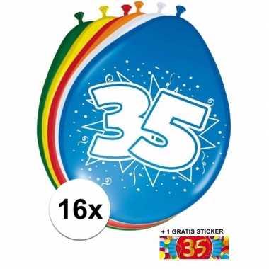 Versiering 35 jaar ballonnen 30 cm 16x sticker