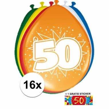 Versiering 50 jaar ballonnen 30 cm 16x + sticker