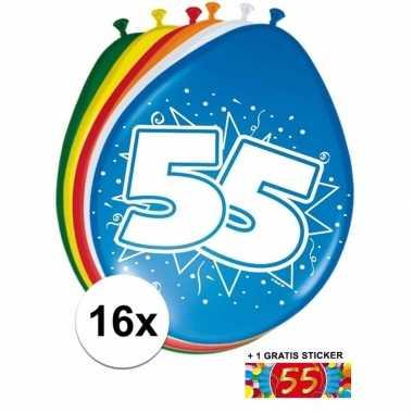 Versiering 55 jaar ballonnen 30 cm 16x sticker