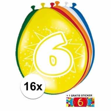 Versiering 6 jaar ballonnen 30 cm 16x + sticker